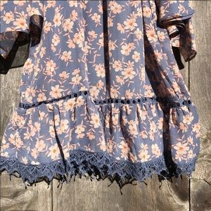 City Studio Dresses - City Studio purple floral boho cold shoulder dress